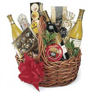 Basket with red wine